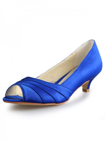 Low Peep Toe Satin High Heels SW0011121I