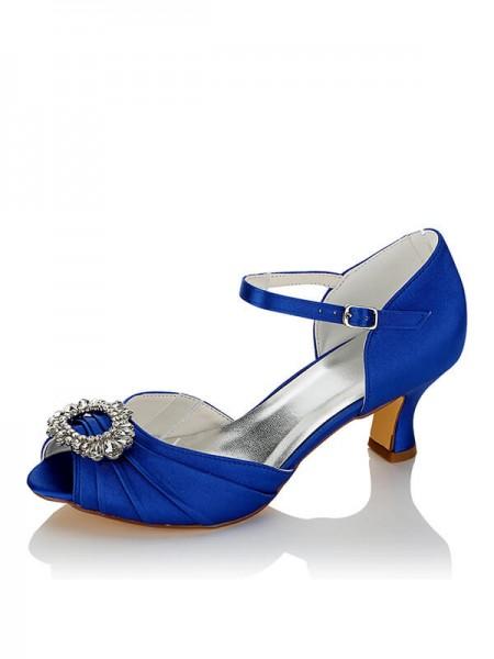 Women's Satin PU Peep Toe Spool Heel Wedding Shoes