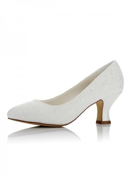 Women's Satin PU Closed Toe Spool Heel Wedding Shoes