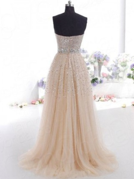 A-Line/Princess Sleeveless Tulle Sweep/Brush Train Sweetheart Dresses
