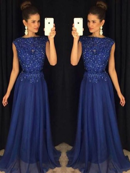 A-Line/Princess Bateau Sleeveless Floor-Length Applique Chiffon Prom Dresses