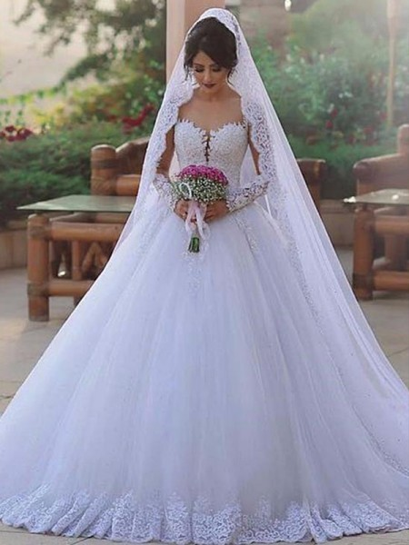 Ball Gown Sweetheart Long Sleeves Sweep/Brush Train Lace Tulle Wedding Dresses