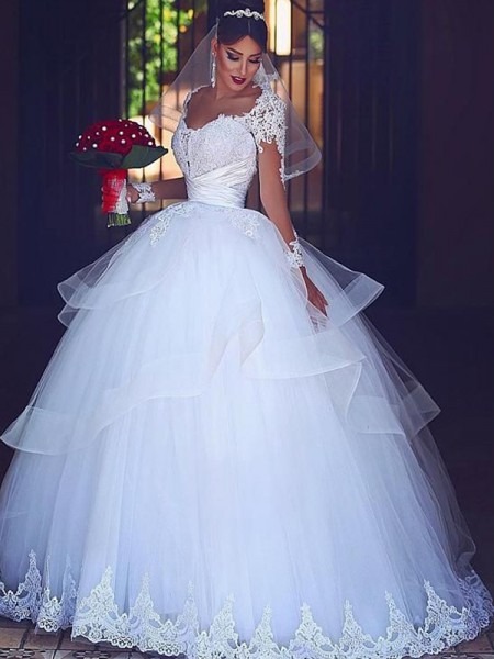 Ball Gown Sweetheart Long Sleeves Floor-Length Lace Tulle Wedding Dresses