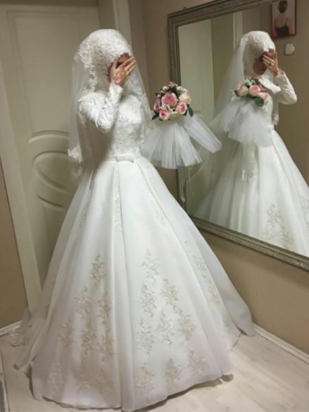 Ball Gown Jewel Long Sleeves Floor-Length Bowknot Tulle Muslim Wedding Dresses