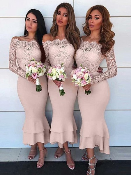 Sheath/Column Off-the-Shoulder Long Sleeves Ankle-Length Lace Jersey Bridesmaid Dresses