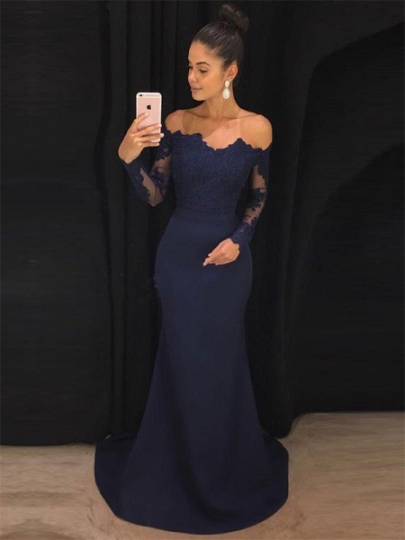 Trumpet/Mermaid Off-the-Shoulder Long Sleeves Sweep/Brush Train Lace Satin Prom Dresses