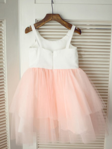 A-Line/Princess Sleeveless Tulle Tea-Length Hand-Made Flower Spaghetti Straps Flower Girl Dresses