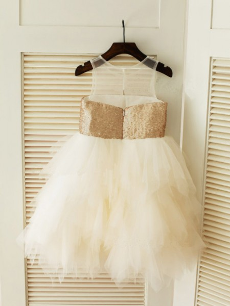 Ball Gown Sleeveless Tulle Tea-Length Ruffles Scoop Flower Girl Dresses