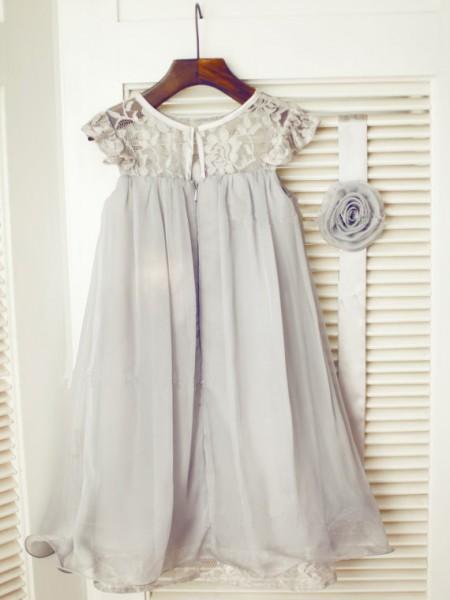 A-Line/Princess Sleeveless Chiffon Tea-Length Lace Scoop Flower Girl Dresses