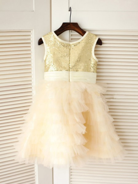 A-Line/Princess Sleeveless Tulle Tea-Length Bowknot Scoop Flower Girl Dresses
