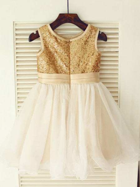 A-Line/Princess Sleeveless Organza Knee-Length Sequin Scoop Flower Girl Dresses