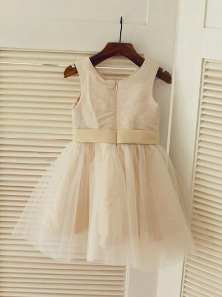 A-Line/Princess Sleeveless Tulle Tea-Length Sash/Ribbon/Belt Scoop Flower Girl Dresses