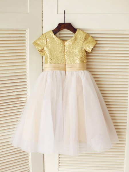 A-Line/Princess Short Sleeves Tulle Knee-Length Sequin Scoop Flower Girl Dresses