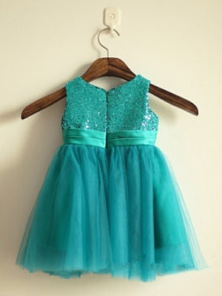 A-Line/Princess Sleeveless Tulle Ankle-Length Sequin Scoop Flower Girl Dresses