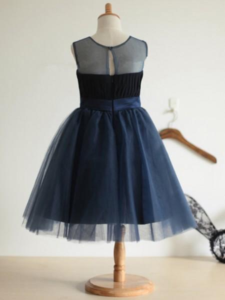 Ball Gown Sleeveless Tulle Tea-Length Bowknot Jewel Flower Girl Dresses