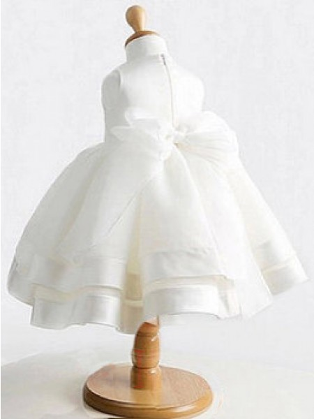 Ball Gown Sleeveless Satin Tea-Length Bowknot Jewel Flower Girl Dresses