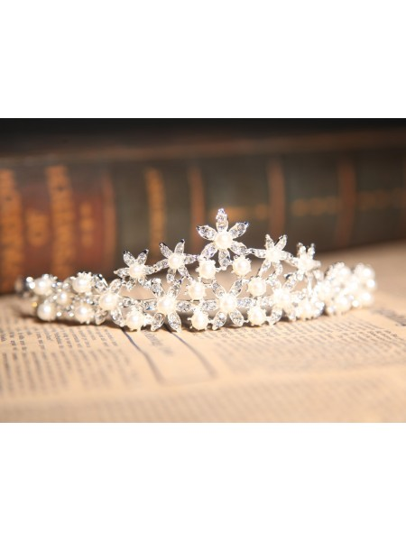 Nice Alloy Clear Crystals Pearl Wedding Headpieces