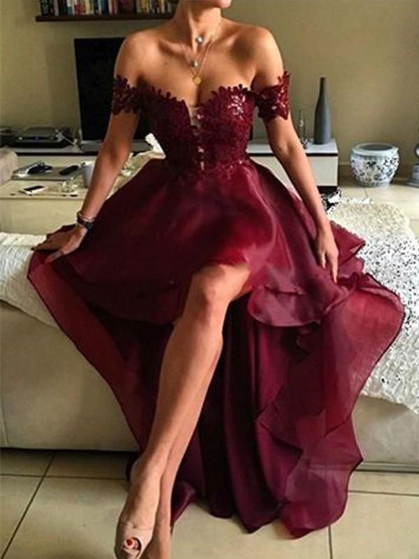 A-formet/Prinsesse Lett-av-skulderen Organza Applikasjoner Asymmetrisk Ermeløs Kjoler