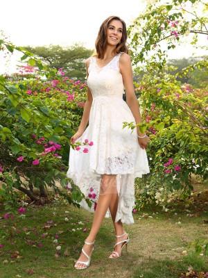 A-formet/Prinsesse V-hals Blonder Asymmetrisk Blonder Ermeløs Brudepike kjole