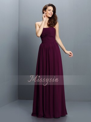 A-formet/Prinsesse Stroppløs Chiffong Gulvlengde Fold Ermeløs Brudepike kjole