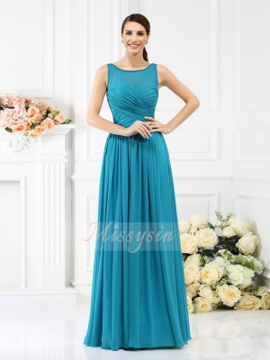 A-formet/Prinsesse Båthals Chiffong Gulvlengde Fold Ermeløs Brudepike kjole