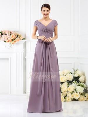 A-formet/Prinsesse V-hals Chiffong Gulvlengde Fold Kort erme Brudepike kjole