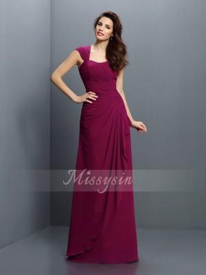 A-formet/Prinsesse Stropper Chiffong Gulvlengde Fold Ermeløs Brudepike kjole