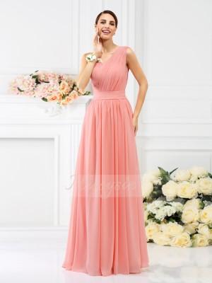 A-formet/Prinsesse En Skuldret Chiffong Gulvlengde Fold Ermeløs Brudepike kjole