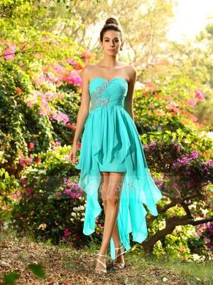 A-formet/Prinsesse Sweetheart Chiffong Asymmetrisk Perler Ermeløs Brudepike kjole
