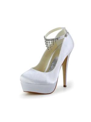 Kvinners Nice Satin Stiletto Heel Lukket Toe Med Rhinestone Hvit Bryllupsko