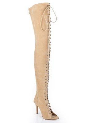 Kvinners Suede Stiletto Heel Åpen skotupp Med Blonder-up Over The Knee Champagne Støvler