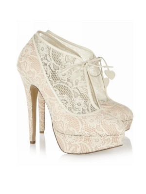Kvinners Blonder Stiletto Heel Lukket Toe Platform Wedding Champagne Støvler