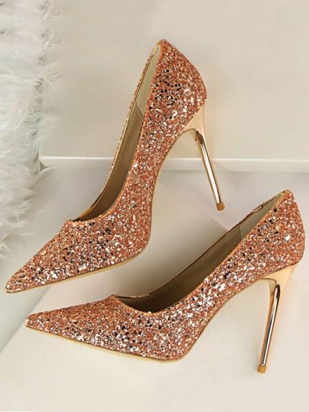 Dames glitrende glitter Stiletto hæl lukket tå høye hæler