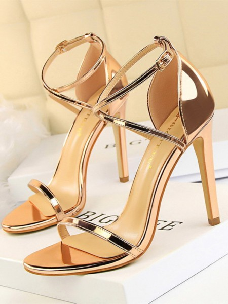Patent skinn Stiletto Hæl Peep Toe Dames sandaler