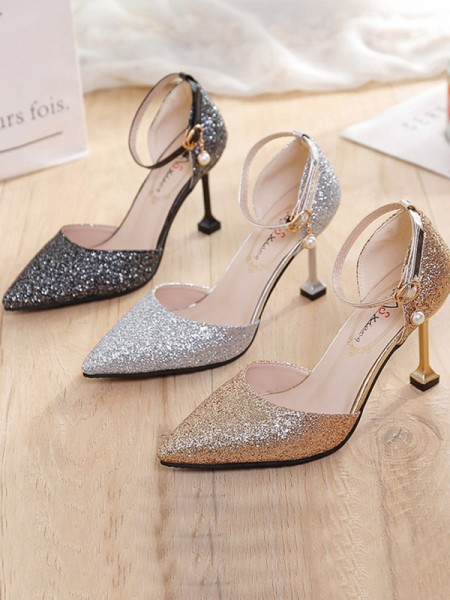 Stiletto Hæl Lukket Tå Sparkling Glitter Kvinner høye hæler