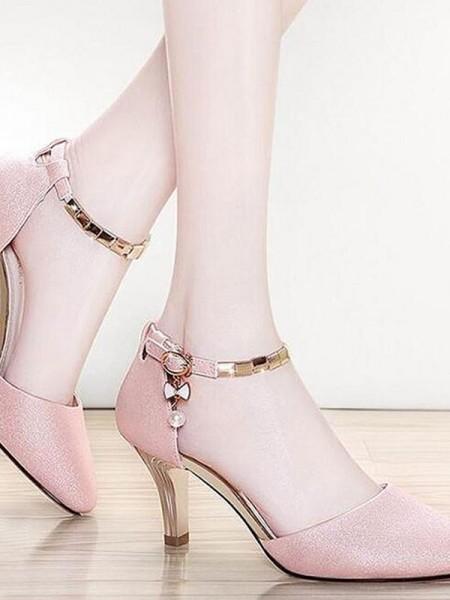 Lær Stiletto Hæl Lukket Tå Kvinner sandaler