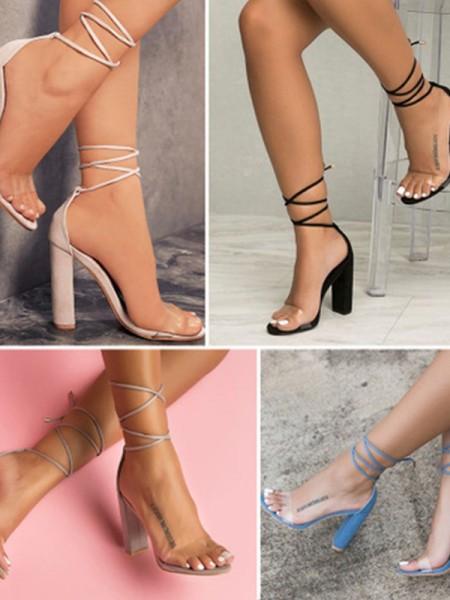 Kvinner Semsket Chunky Heel Peep Toe Sandaler