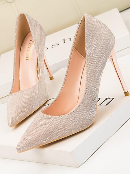 Dame-lær-stiletto hæl høye hæler med lukket tå