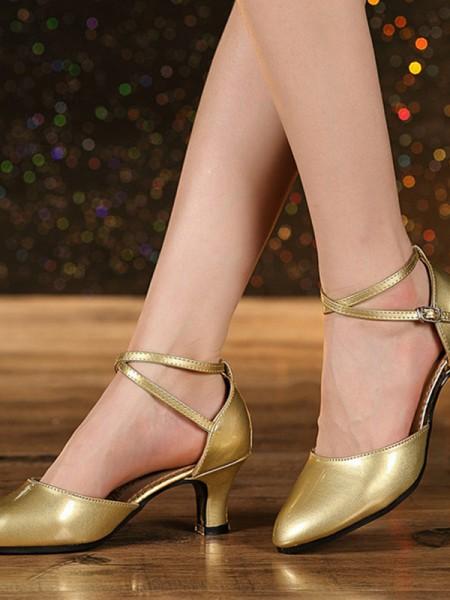 Dame's Leatherette Cone Heel Closed Toe Sandaler
