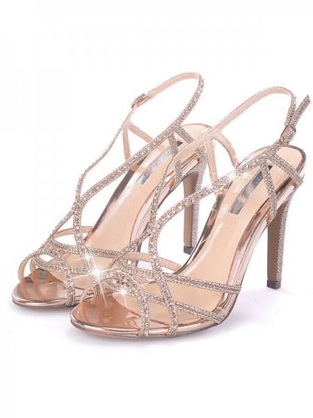 Rhinsten-stiletto hæl-titte-sandaler til damer
