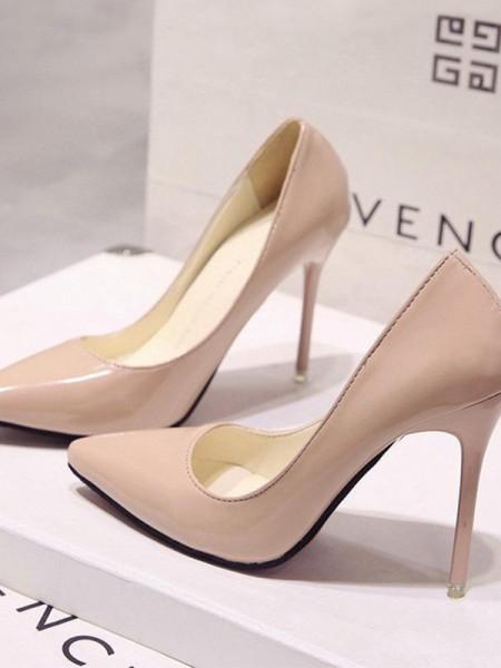 Dame-patenteret skinn Stiletto hæl lukket tå høye hæler