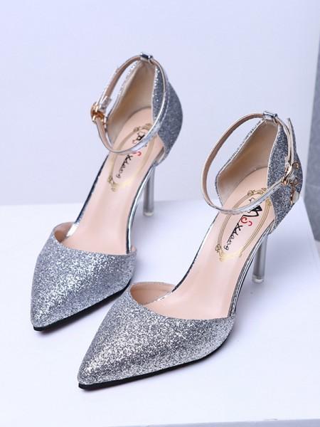 Damer med lukket tå Glitrende glitter Stiletto hæl høye hæler