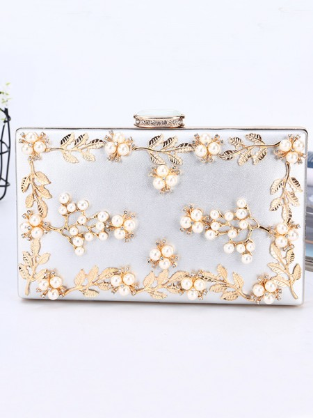 Luksuriøse PU-kvelder/festvesker med perler