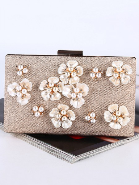 Perle Bryllup/Parti Purse Med 3D blomster