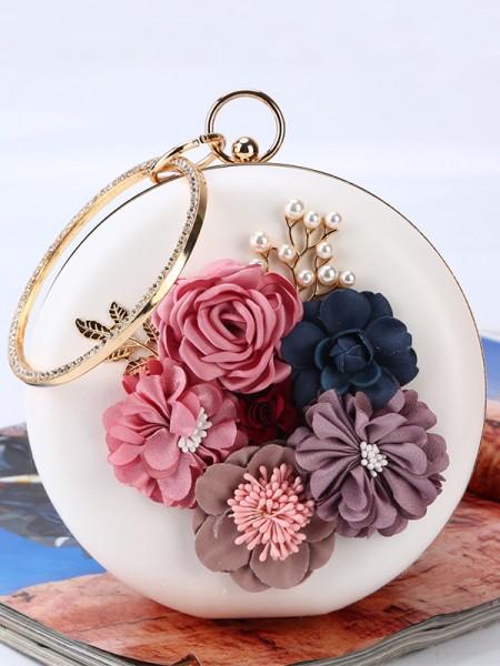 Runde PU-kvelder/festvesker med 3D-blomster