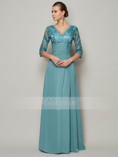 A-formet/Prinsesse V-hals 3/4 ermer Chiffong Gulvlengde Kjoler Til Brudens Mor