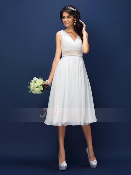 A-formet/Prinsesse V-hals Chiffong Knelengde Fold,Sash/Pyntebånd/Belte Ermeløs Brudepike kjole