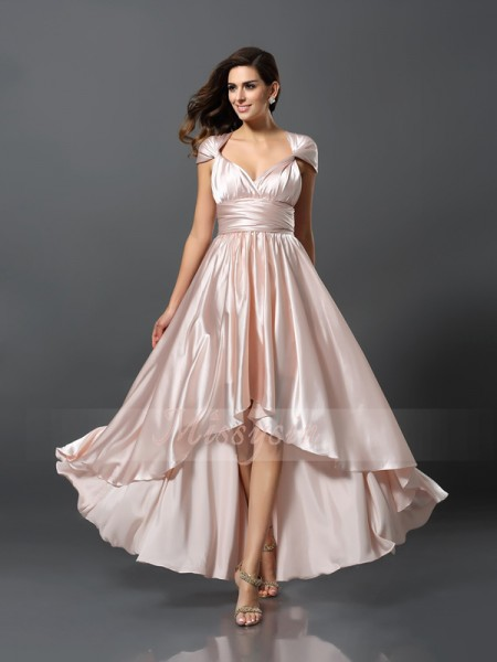 Sheath/Column Sleeveless Other Asymmetrical Other Silk like Satin Bridesmaid Dresses