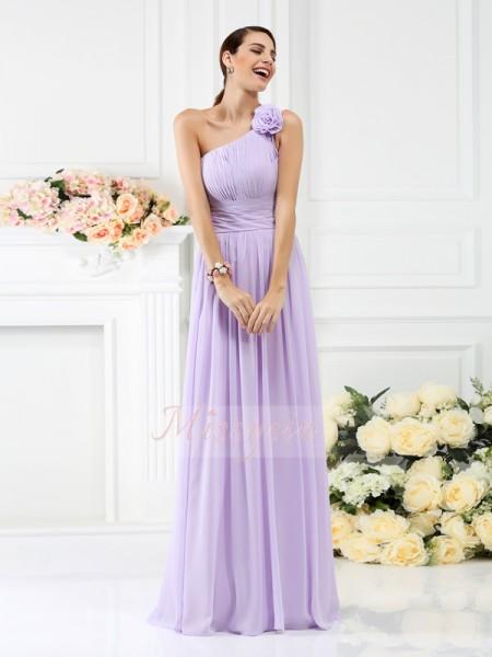 A-formet/Prinsesse En Skuldret Chiffong Gulvlengde Fold,Håndlaget Blomst Ermeløs Brudepike kjole
