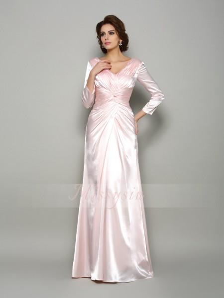A-formet/Prinsesse V-hals Silk like Satin Gulvlengde Folder Lange ermer Kjoler Til Brudens Mor